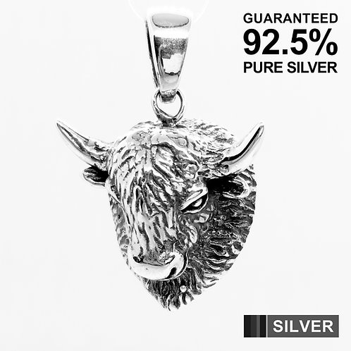 925 Sterling Silver 3D Yak Cow Mask Pendant / Solid / Quality