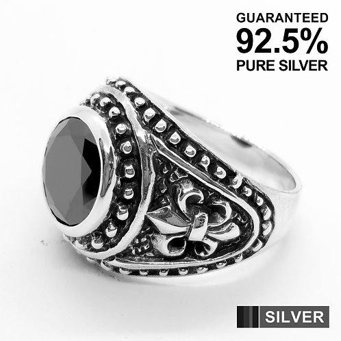 925 Sterling Silver Fleur De Lys With Black CZ Signet Ring / Quality / Heavy