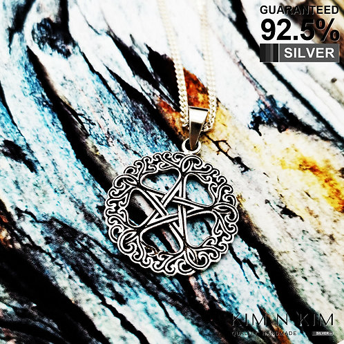 925 Silver Wicca Neo Pagan Pentagram with Celtic knots pendant Necklace / Solid