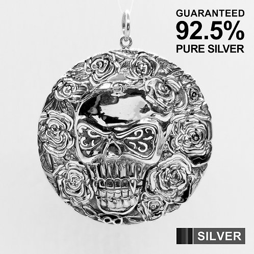 925 Sterling Silver Large Skull and Rose Medal Pendant / Solid / Quality /Heavy