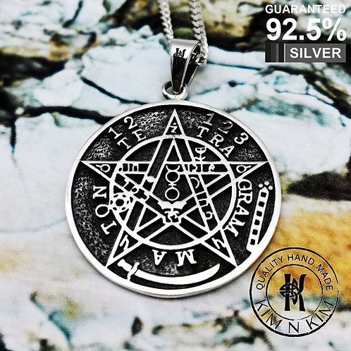 Wicca Neo Pagan Seal of Solomon Tetragrammaton Pentagram Pentacle Pendant /Solid
