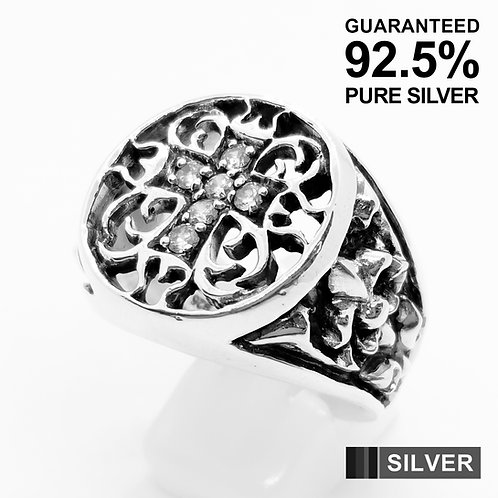 925 Sterling Silver CZ Cross & Fleur De Lys Signet Ring / Solid / Quality