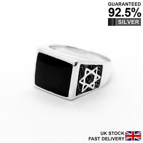 925 Silver Black Onyx Gemstone Jewish Star of David Signet Ring / Comfort Fit