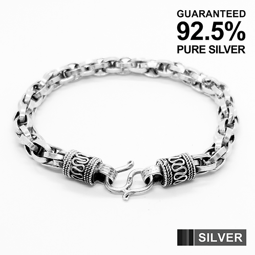 925 Sterling Silver CHUNKY Prince of Wales Link Bracelet /Solid /Oxidised