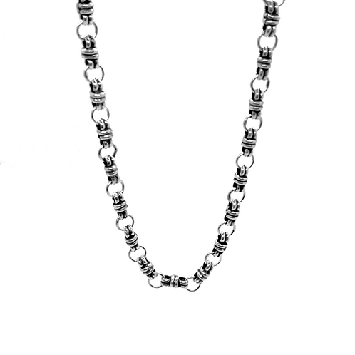 Design Link Necklace Chain / 925 Sterling Silver, Blackened, Solid
