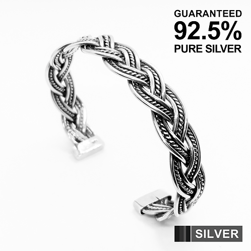 925 Sterling Silver Braided Wire Open Cuff Bangle /Quality /Solid /Oxidised