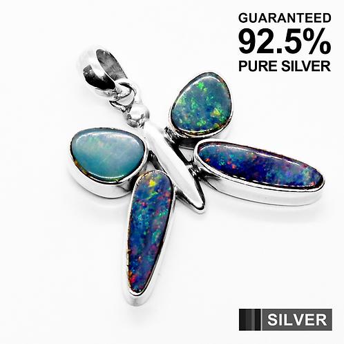 925 Sterling Silver Australian OPAL Gemstone Butterfly Pendant / Solid / Quality