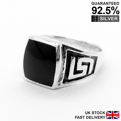 925 Sterling Silver Black Onyx Gemstone Greek Key Signet Ring / Comfort Fit​​​​​