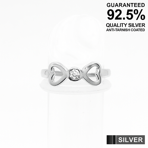 925 Sterling Silver Heart Bow Symbol with CZ Toe Ring / Midi Ring / Quality