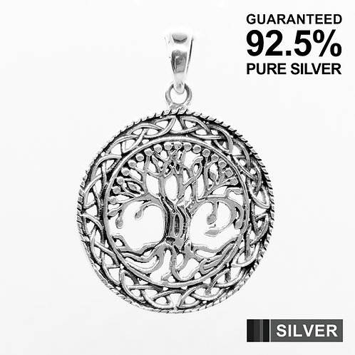 925 Sterling Silver Celtic Tree of Life Circle Pendant / Oxidised / Solid
