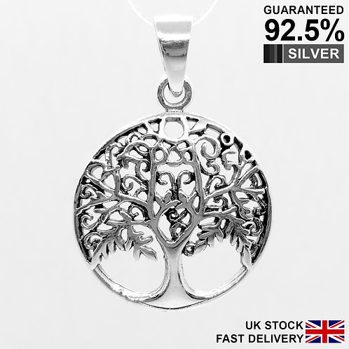 925 Sterling Silver Tree Of Life In Circle Pendant / Solid / Quality