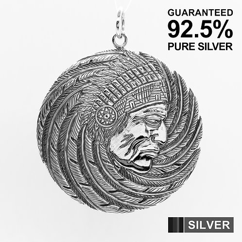 925 Sterling Silver Large Indian Chief Medal Pendant / Solid / Quality / Unique