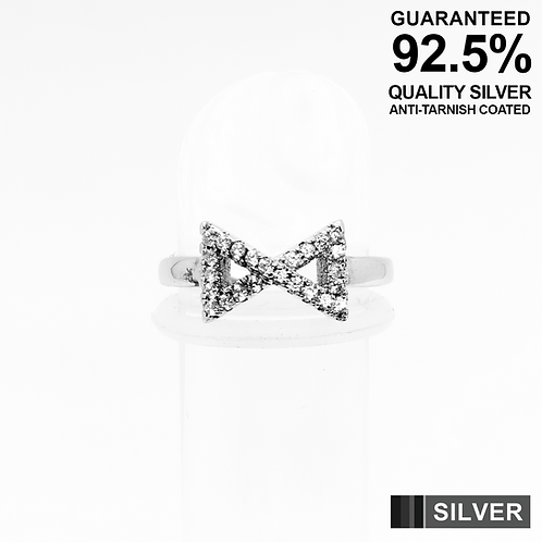 925 Silver Triangular Infinity Symbol with CZ Setting Toe Ring / Midi Ring