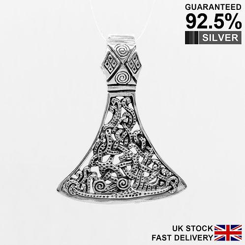 925 Sterling Silver Large Axe Perun Berserk Norse Viking Talisman Pendant