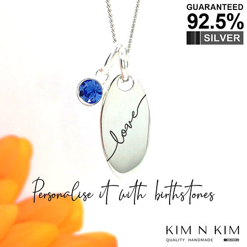 925 Silver Oval Tag Birthstone Pendant Necklace, Kid, Children, Friend, Mum