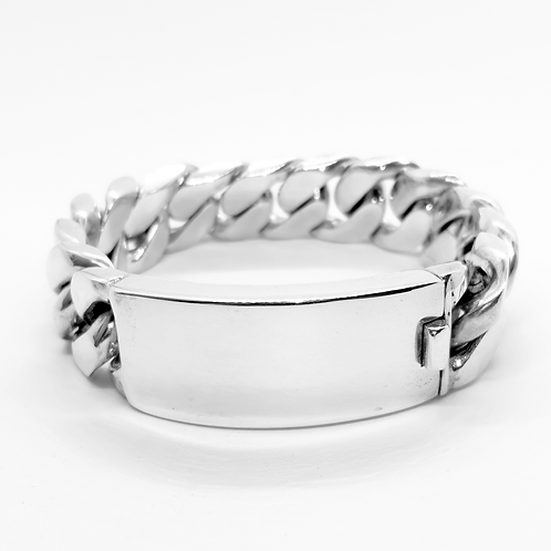 Mens Heavy ID Curb Link Bracelet / 925 Sterling Silver, Solid