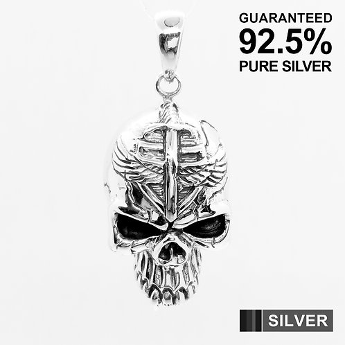 925 Sterling Silver 3D Skull with Canine Tooth Pendant / Solid / Quality