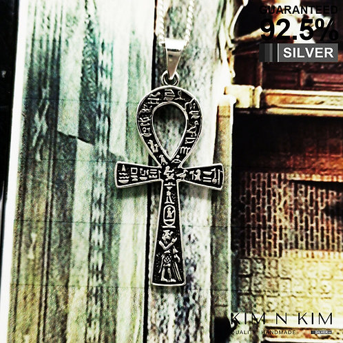 925 Silver Large Ancient Egyptian Ankh Cross with Hieroglyphs Pendant Necklace