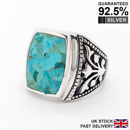 925 Silver Turquoise Gemstone Rectangular Floral Signet Ring / Quality / Solid