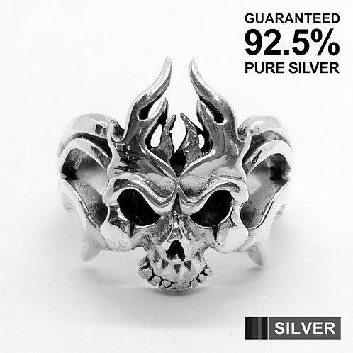 925 Sterling Silver Evil Fire Flame Skull Ring / Quality / Solid