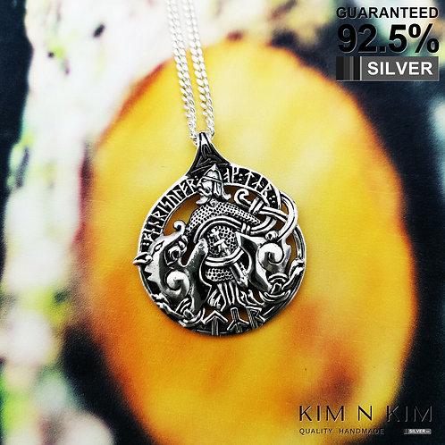 925 Silver Odin Norse Viking Pendant Rune Wolf Triquetra Celtic Necklace