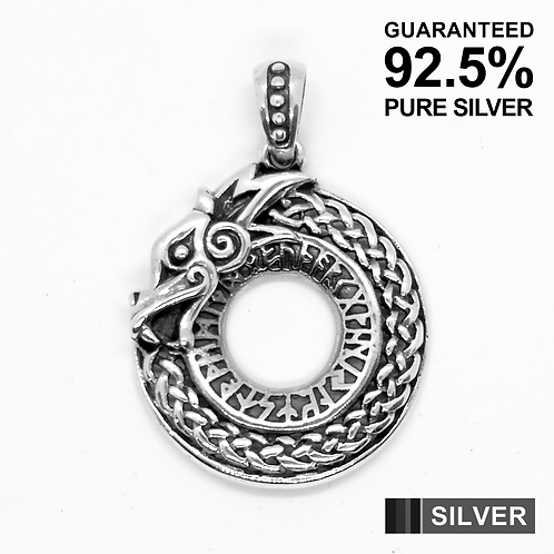 925 Sterling Silver Rune Circle Celtic DRAGON Pendant / Blackened / Solid
