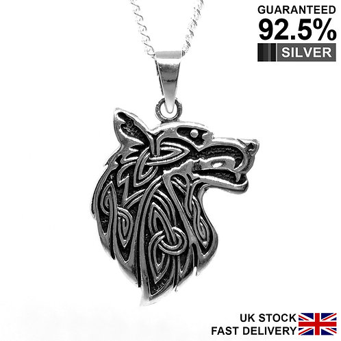 925 Sterling Silver Celtic Knot Wolf Head Pendant / Neo Pagan / Solid / Quality