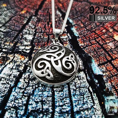 Silver Celtic Swirl Triquetra Pendant +Hidden Pentacle Pentagram Locket Necklace