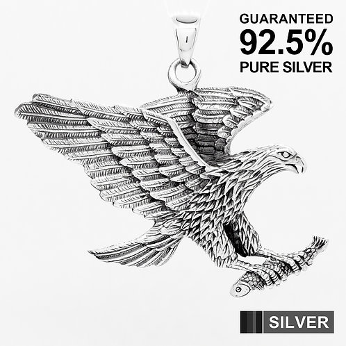 925 Sterling Silver 3D Hawk American Eagle Pendant / Solid / Heavy / Oxidised