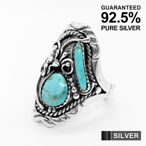 925 Sterling Silver Women's Turquoise Stone Ring / Oxidised / Solid