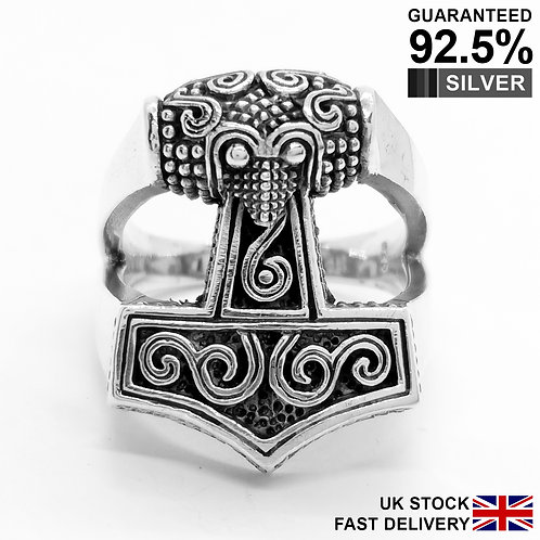 925 Silver Thor's Hammer Mjolnir Norse Viking Ring / Quality / Solid