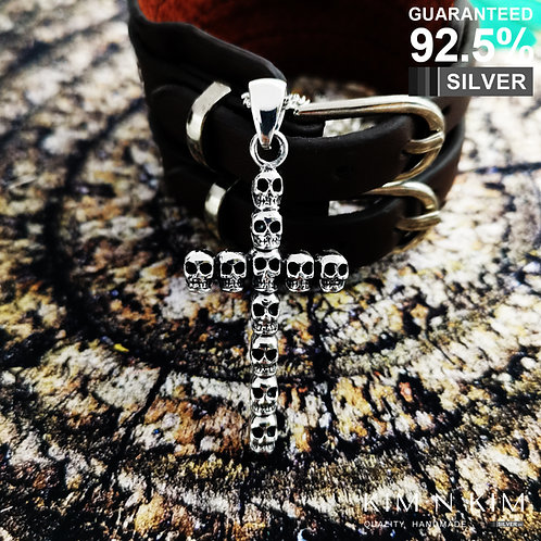 925 Sterling Silver Thick Multi Skull Cross Pendant Necklace / Quality / Solid