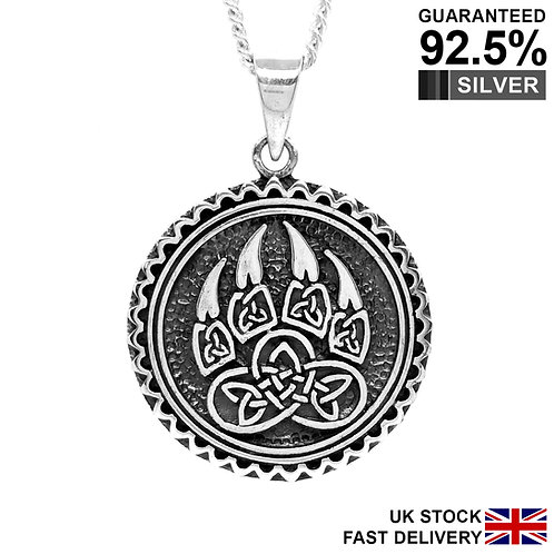 925 Sterling Silver Norse Viking Neo Pagan Celtic Wolf Paw Claw Pendant /Quality