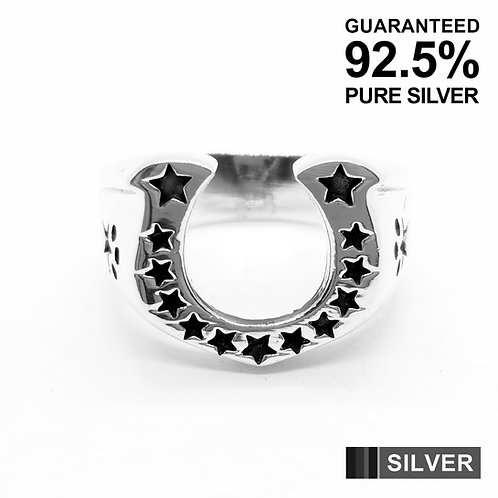 925 Sterling Silver LUCKY 13 STARS HORSESHOE Ring / Solid / Oxidised