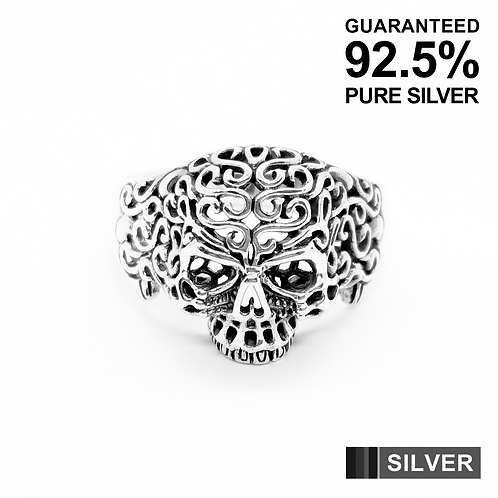 925 Sterling Silver 3D Filigree Skull Head Ring / Solid / Oxidised