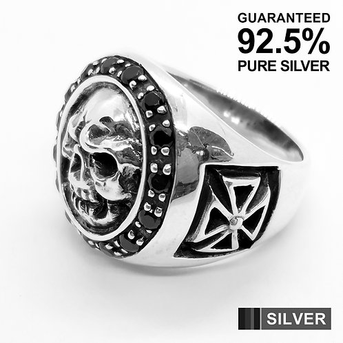925 Sterling Silver Skull Head with Black CZ Signet Ring / Solid / Oxidised