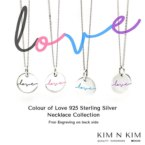 925 Sterling Silver Love Disc Pendant Necklace, Kid, Children, Friend, Mum
