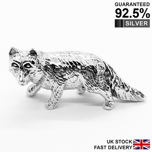 925 Sterling Silver Miniature Fox Animal Figurine / Solid / Quality