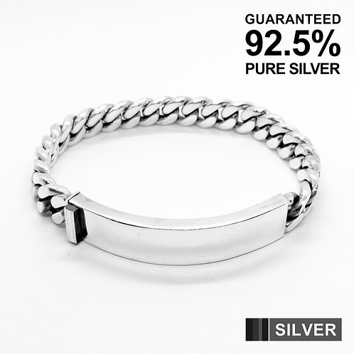 925 Sterling Silver Heavy Dense Curb Chain ID Bracelet /Solid