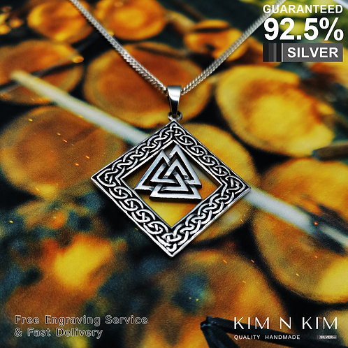 Valknut Pendant Necklace / Warrior's Knot with Eternal Knot / Solid