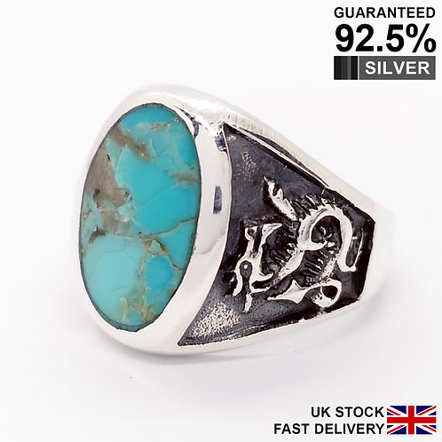 925 Silver Turquoise Gemstone Dragon Oval Signet Ring / Quality / Solid