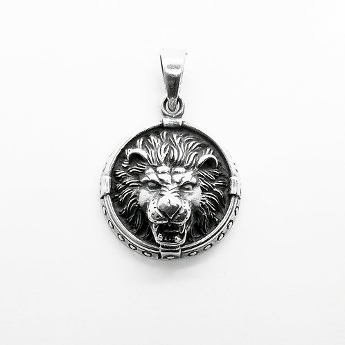 Lion Head Pendant / 925 Sterling Silver, Blackened
