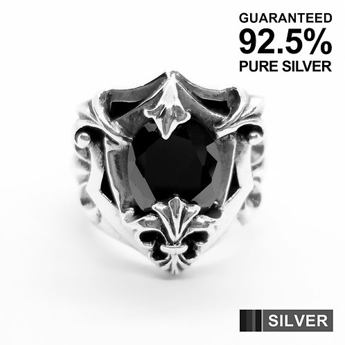 925 Sterling Silver Fleur De Lys with Black CZ Signet Ring / Quality