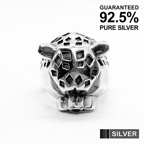 925 Sterling Silver 3D Leopard's Head Ring / Solid / Oxidised