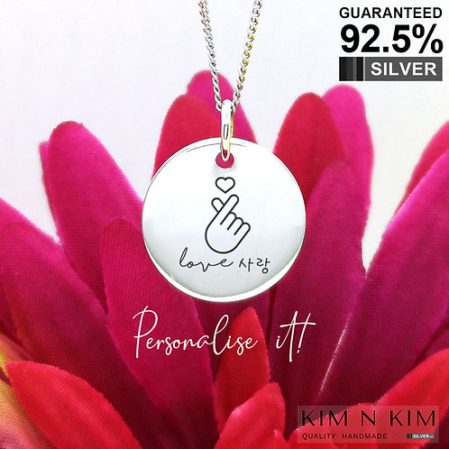 925 Sterling Silver Personalised Finger Heart KPOP BTS Love Pendant Necklace