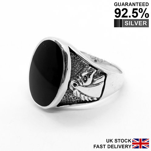 925 Sterling Silver Black Onyx Gem Horse Oval Signet Ring / Oxidised / Quality