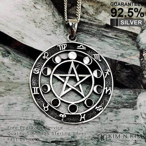 Pentagram Wiccan Pagan Moon Phase with Zodiac Signs Pendant Necklace / Solid