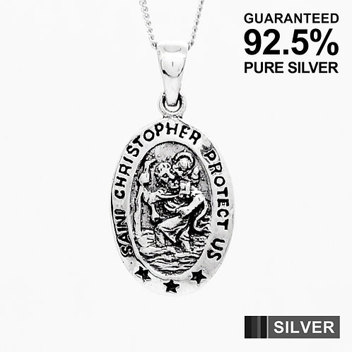 925 Sterling Silver SAINT CHRISTOPHER Protection Vintage Pendant With Chain