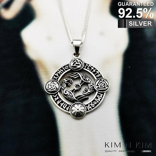 925 Silver Rune Odin's Ravens Hugin Munin Viking Norse Pendant Necklace / Soild