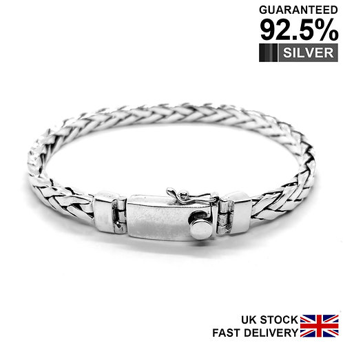 925 Sterling Silver Men's Plain Braided Bracelet / Quality / Solid
